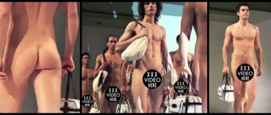 Naked Male Models Show Off Purses And Penis On The Runway! (NSFW)