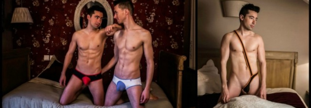Gay Underwear Shoot: Real Couple Strips For Pics!